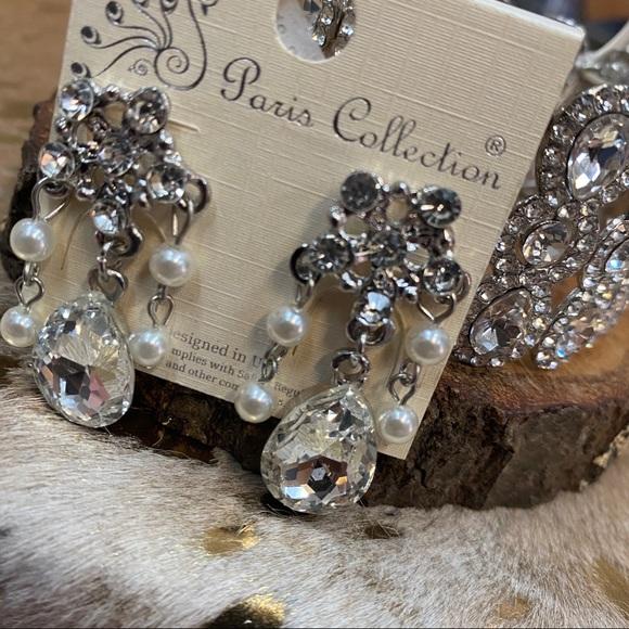 Pearl & Rhinestone Chandelier Earrings
